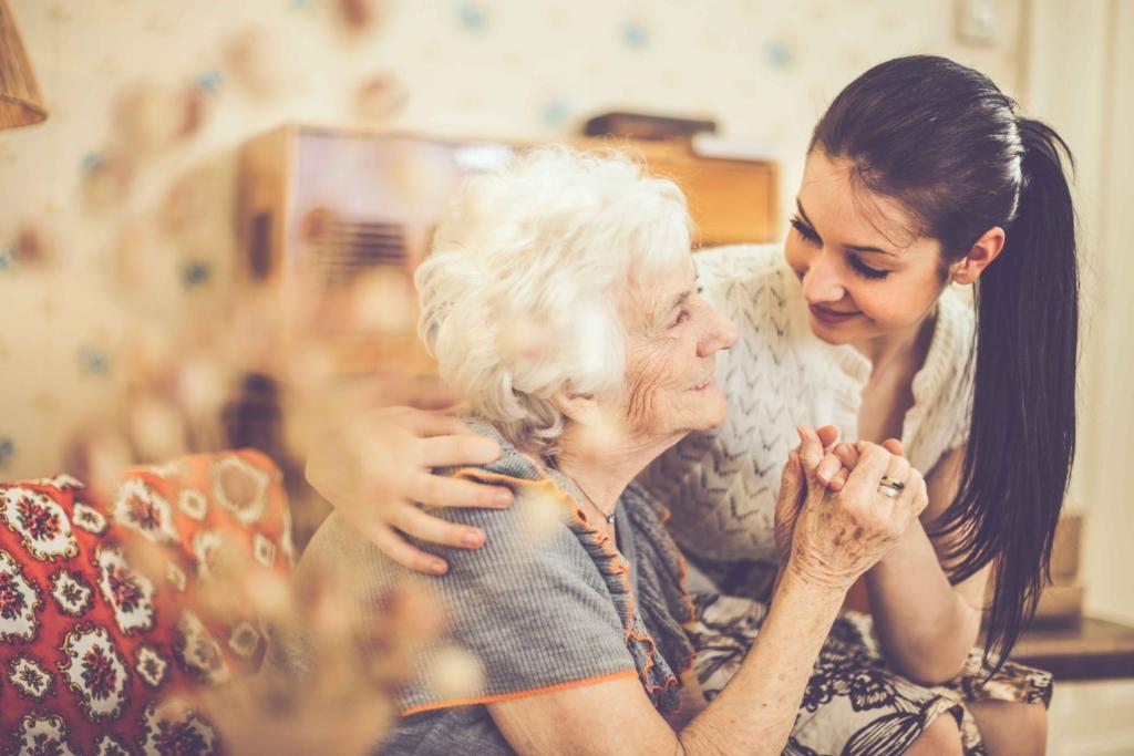 Granddaughter helping grandmother.